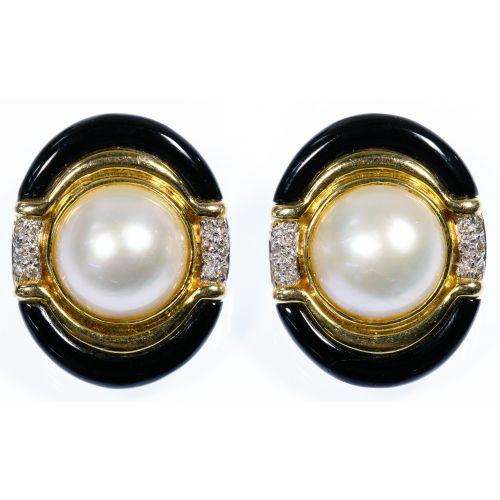 HK 14k Gold, Mabe Pearl, Onyx and Diamond Earrings