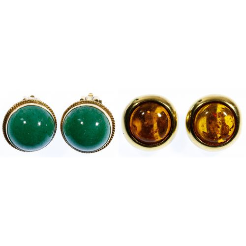 14k Gold and Jadeite Jade Clip Earrings