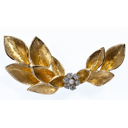 14k Gold and Diamond Spray Brooch