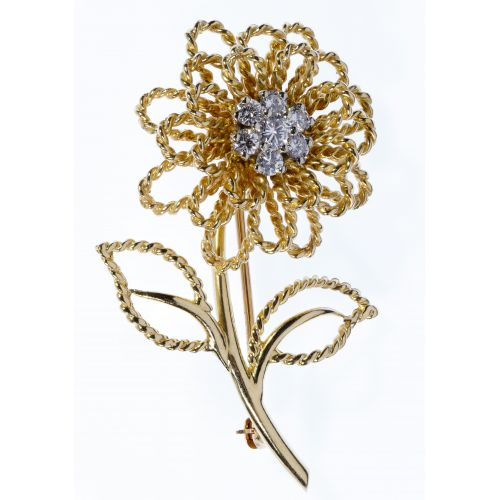 14k Gold and Diamond Flower Brooch