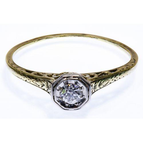Platinum, 15k Gold and Diamond Art Deco Ring