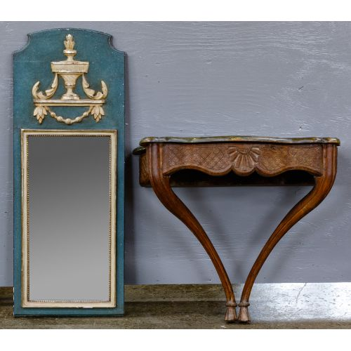 French Painted Hall Table and Mirror