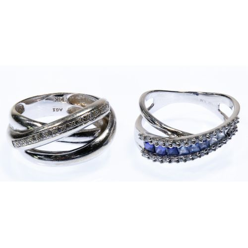 14k White Gold, Sapphire and Diamond Rings