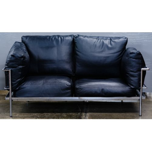 Chrome and Leather Love Seat (attributed to) Le Corbusier