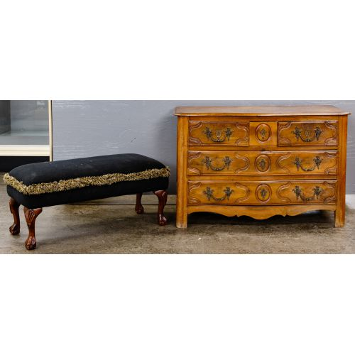 Maple Dresser and Upholstered Bench