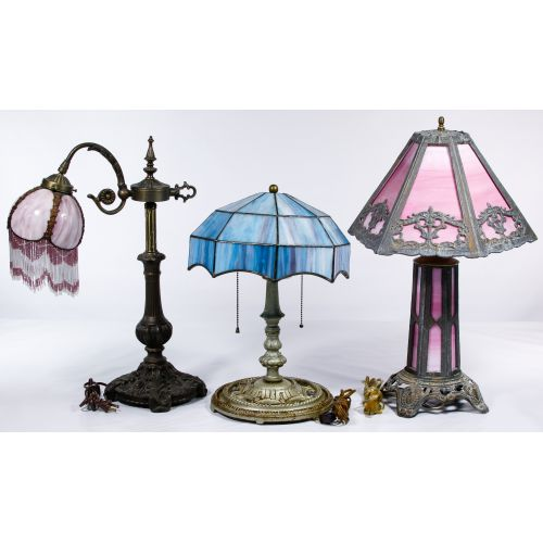 Slag Glass Shade Table Lamps