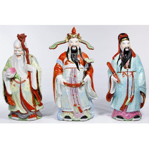 Chinese Porcelain Famille Rose Fu Lu Shou Statue Set