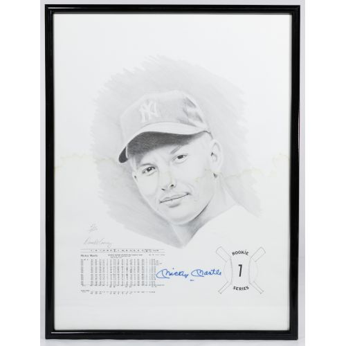 "Mickey Mantle Signed ""Rookie Series 1"" Print by David Cooney"