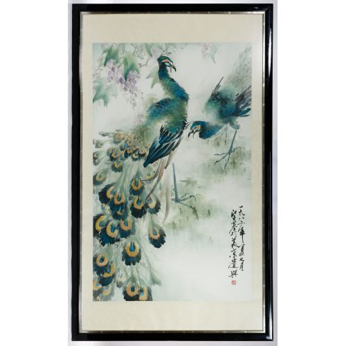 "Henry Yue-Kee Wo (American / Chinese, b.1927) ""Peacocks"" Watercolor"