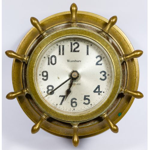 Waterbury Brass Nautical Desk Clock