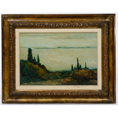 "Willem Van Den Berg (Dutch 1886-1970) ""Garden in Fasano"" Oil on Board"