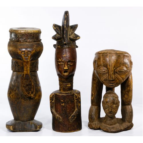 African Carved Wood Figures and Drum
