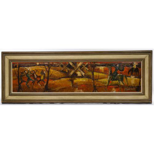 """Alfredo Romagnoli (Italian, b.1915) """"Don Quixote"""" Oil on Canvas"""