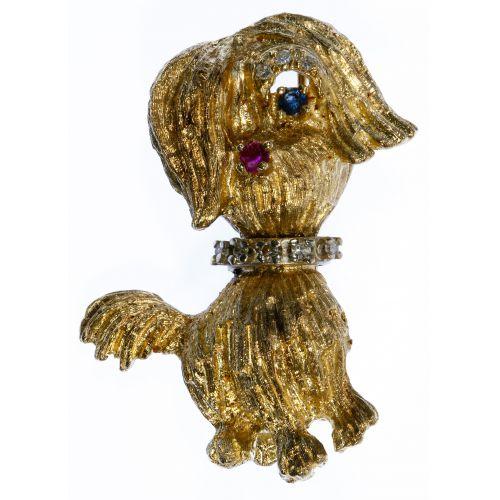 14k Gold, Sapphire, Ruby and Diamond Dog Brooch
