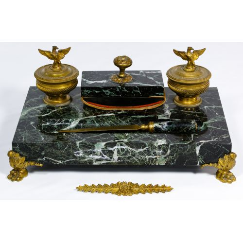 Brass and Marble Ink Well Set