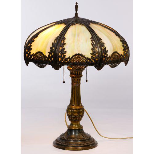 Slag Glass Shade Table Lamp