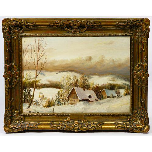 """Matthew F. Kousal (Canadian, 1902-1990) """"Winter"""" Oil on Canvas Board"""