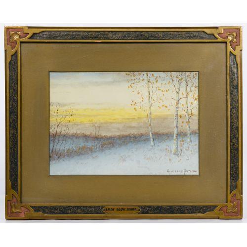 "Gulbrand Sether (American / Norwegian, 1869-1941) ""Last Glow Winter"" Watercolor"