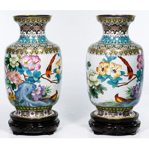 Asian Cloisonne Vases on Wood Stands