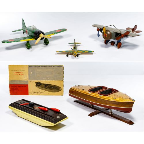 Pressed Steel Airplane and Boat Assortment