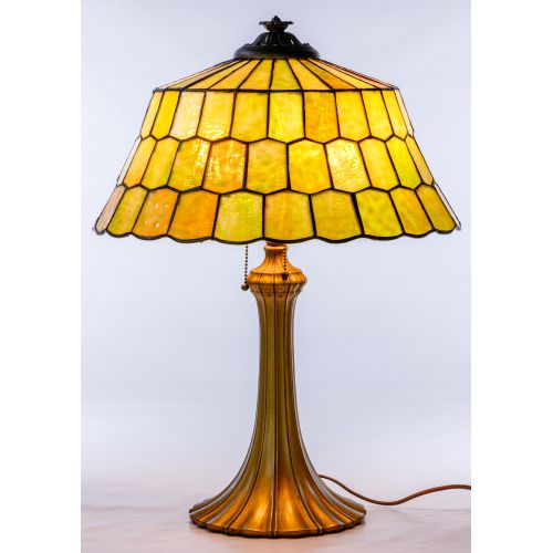 Unique Slag Glass Shade on Miller Base Table Lamp