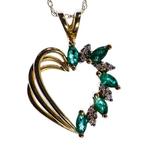 14k Gold, Emerald and Diamond Heart Shaped Pendant Necklace