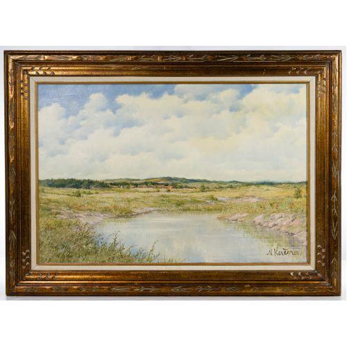 """Miroslav Kucera (Czech, b.1910) """"Countryside in South Bohemia"""" Oil on Canvas Board"""