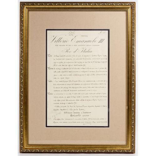 Benito Mussolini and Vittorio Emanuele III Signed Document