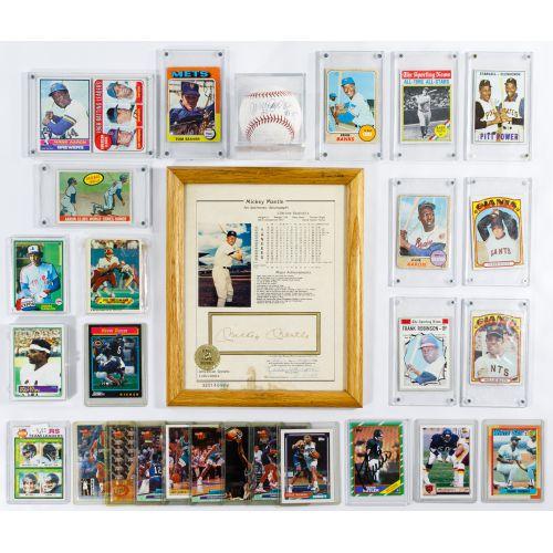 Mickey Mantle Signature, Baseball and Football Card Assortment