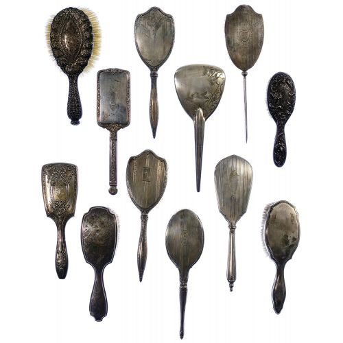Sterling Silver and European Silver Vanity Handled Brush Assortment