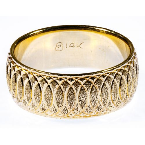 14k Gold Engraved Band Ring