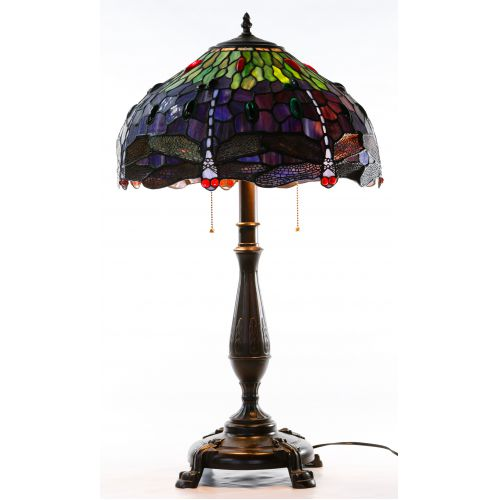 "Stained Glass Style ""Dragonfly"" Shade Table Lamp"