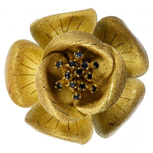 18k Gold and Sapphire Floral Brooch