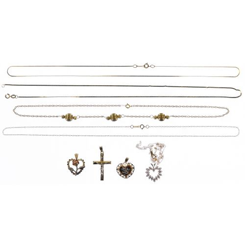 14k Gold Necklace and Pendant Assortment