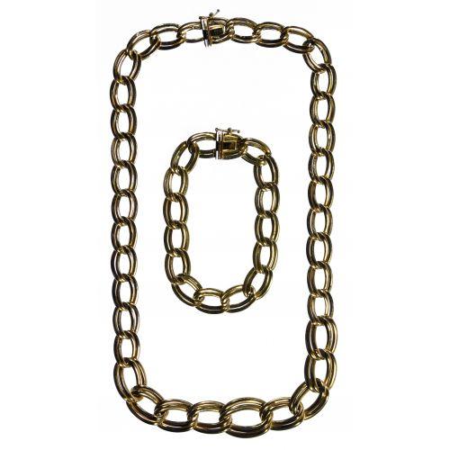 14k Gold Necklace and Bracelet Set