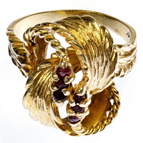 14k Gold and Ruby Knot Ring
