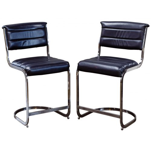 (Style of) Milo Baughman Leather Counter Stools