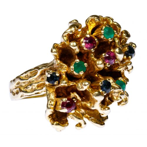 14k Gold and Gemstone Nugget Ring