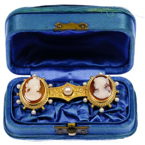 14k Gold, Pearl and Cameo Brooch
