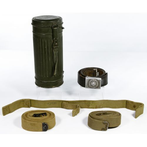 World War II and After German Gas Mask Canister, Belt and Strap Assortment