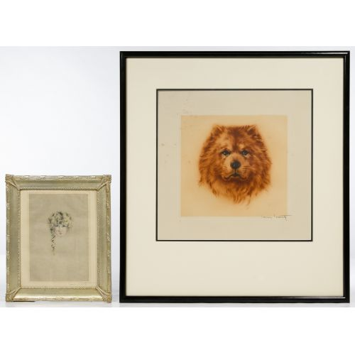 """Louis Icart (French, 1888–1950) Lithographs """"Mon Chien"""" and """"Curly Locks"""" Lithographs"""