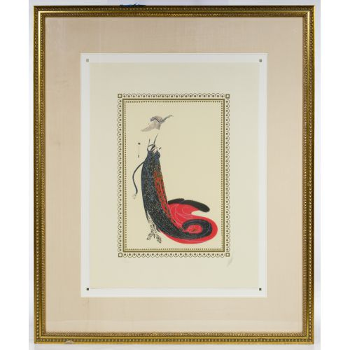 "Romain de Tirtoff (Erte) (Russian, 1892-1990) ""Black Magic"" Serigraph"