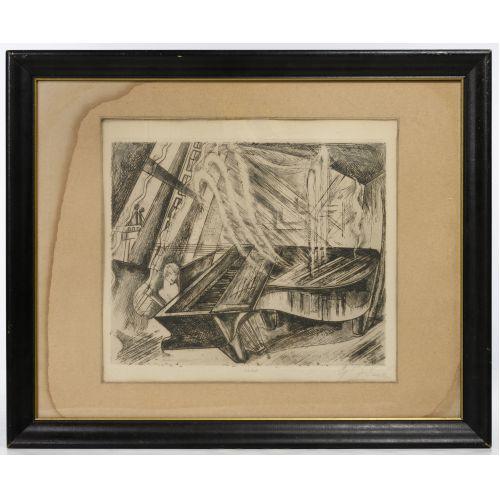 """Gyula Zilzer (Hungarian / American, 1898-1969) """"Pianist-Paris"""" Etching"""