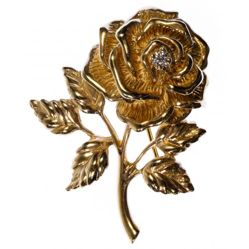 Tiffany & Co 14k Gold and Diamond Rose Pin