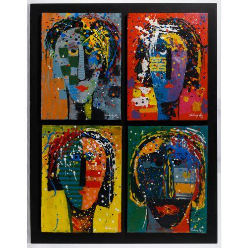 """Vladimir Cora (American / Mexican, b.1951) """"Los Mirones"""" Oil on Canvas on Board"""