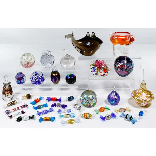 Art Glass Paperweight, Perfume and Candy Assortment