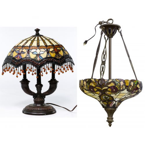 Stained Glass Style Ceiling Fixture and Table Lamp