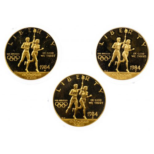 1984, 1984-D, 1984-W $10 Gold Olympic Commemoratives