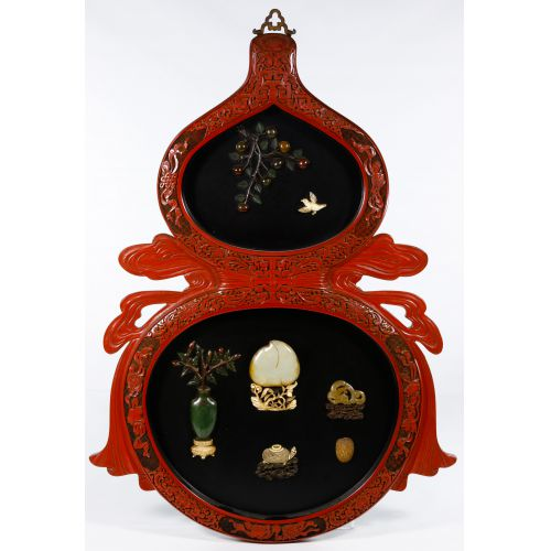Asian Cinnabar and Hardstone Wall Plaque