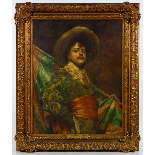 "Hippolyte Francois Leon Duluart (French, 1871-1953) ""Le Porte-Etendard"" Oil on Board"